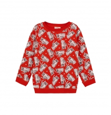 Gojoswe3 Boys Orange Printed Sweatshirt
