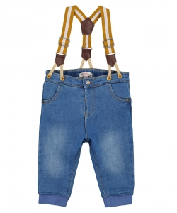 Gujaujean Baby Boys Denim Jeans With Braces
