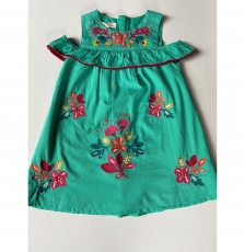 Jaborob2 Girls Lined Embroidered Turquoise Cotton Dress