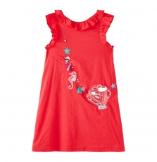 Jacearob2 Girls Lined Red Cotton Dress