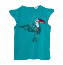 Jacloti Girls Turquoise Sequinned T-shirt