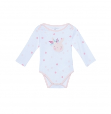 "Jefibodlap Baby Girls Printed White ""Rabbit"" Bodysuit"