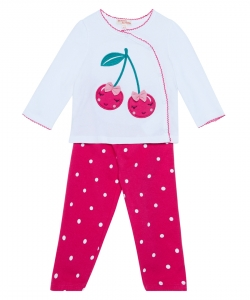 "Jefipyjcer Baby Girls Fleece ""Cherry"" Pyjamas"