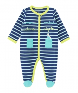 Jegagredin Baby Boys Striped French Terry Sleepsuit