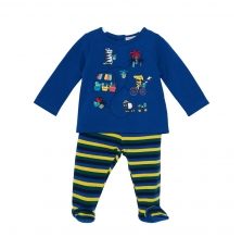 Jegapyjmar Baby Boys Blue Cotton Fleece Pyjamas