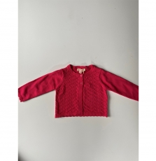 Jibocar Baby Girls Fuchsia Cropped Cotton Cardigan
