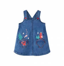 Jicearob3 Baby girls embroidered Soft Denim Pinafore Dress