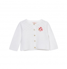 Jiducar Baby Girls Off White Cotton Cardigan