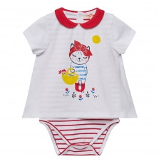 Jigrabody Baby Girls Cream Printed T-shirt With Bodysuit