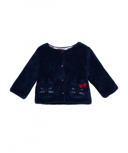 Jigracar1 Baby Girls Lined Navy Cardigan