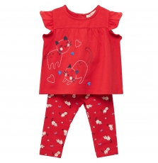 Jigraens2 Baby Girls Red Dress With Matching Leggings