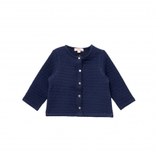 Jijocar3 Baby Girls Navy Quilted Cardigan