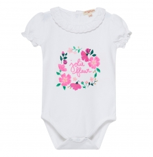 Jipoebody Baby Girls Printed White Collared Bodysuit