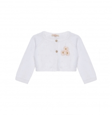 Jipoecar Baby Girls Cropped White Cotton Cardigan