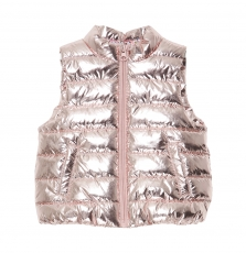 Jirosdoune Baby Girls Rose Gold Sleeveless Zipped Jacket