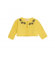 Jitrocar Baby Girls Yellow Embroidered Cotton Cardigan