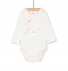 Kefibodcha Baby Girls Cream Printed Cotton Bodysuit