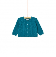 Kibricar1 Baby Girls Turquoise Fancy Knit Cotton Mix Cardigan