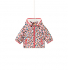 Kibridou Baby Girls Lined Printed Coat With Removable Hood