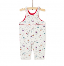 Kilucomb Baby Girls Lined Printed Jersey Dungarees