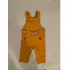 Kiresal Baby Girls Lined Yellow Cotton Dungarees