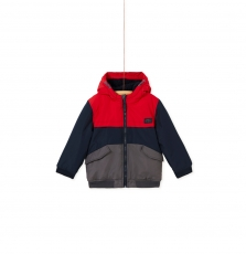 Kogroblou2 Boys Red And Navy Hooded Canvas Jacket