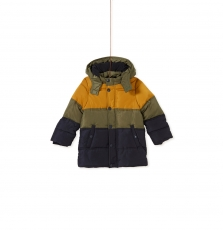 Kogrodou1 Boys Hooded Panelled Puffa Jacket With Micropolar Lining