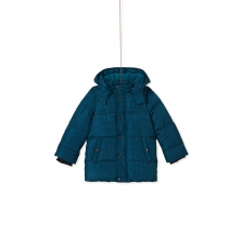Kogrodou5 Boys Turquoise Hooded Lined Coat