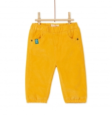 Kujopan2 Baby Boys Yellow Corduroy Trousers