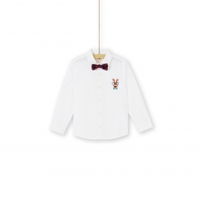 Konochem Boys White Cotton Xmas Shirt With Dickie Bow