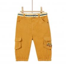 Kurepan3 Baby Boys Yellow Belted Corduroy Trousers
