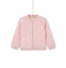 Lajaucar2 Girls Pale Pink Sequinned Zipped Jacket