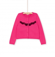 Lajocar2 Girls Deep Pink Sequinned Jersey Cardigan