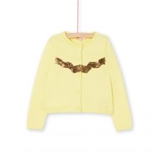 Lajocar4 Girls Yellow Sequinned Jersey Cardigan