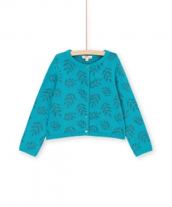 Lavercar Girls Self Patterned Turquoise Cotton Cardigan