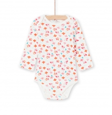 Lefibodbou Baby Girls Cream Printed Cotton Bodysuit