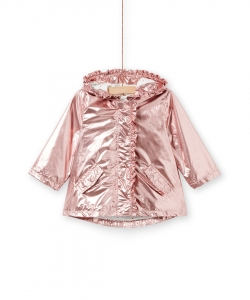Lifanparka Baby Girls Rose Hooded Lined Rain Jacket