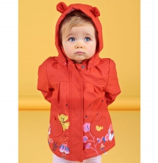 Lihaimp Baby Girls Red Hooded Lined Raincoat