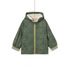 Logroblou1 Boys Green Fleece Lined Hooded Jacket