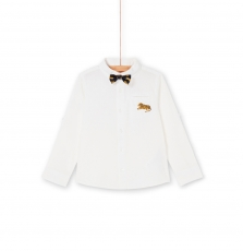 Lojauchem1 Boys White Linen Mix Shirt With Dickie Bow