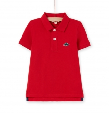 Lojopol3 Boys Basic Red Cotton Polo Shirt