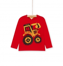 Lojotee3 Boys Red Printed Cotton T-shirt