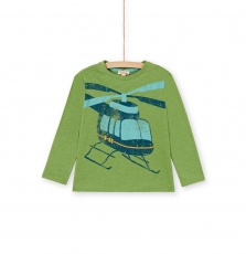 Lojotee4 Boys Green Printed Cotton T-shirt