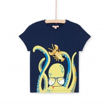 "Lonauti1 Boys Navy Printed ""Octopus"" Cotton T-shirt"