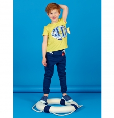 "Lonauti2 Boys Yellow Printed Cotton ""Fish"" T-shirt"