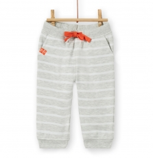 Lujopan4 Baby Boys Grey Striped Cotton Pique Trousers