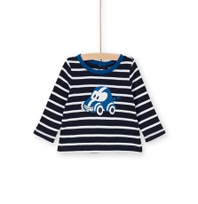 Lujotee4 Baby Boys Navy Striped Cotton T-shirt