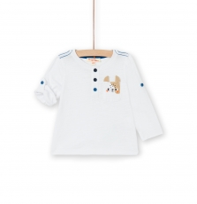 Lujotun2 Baby Boys White Cotton Button Neck T-shirt