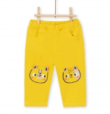 Lunopan1 Baby Boys Yellow Cotton Pique Trousers