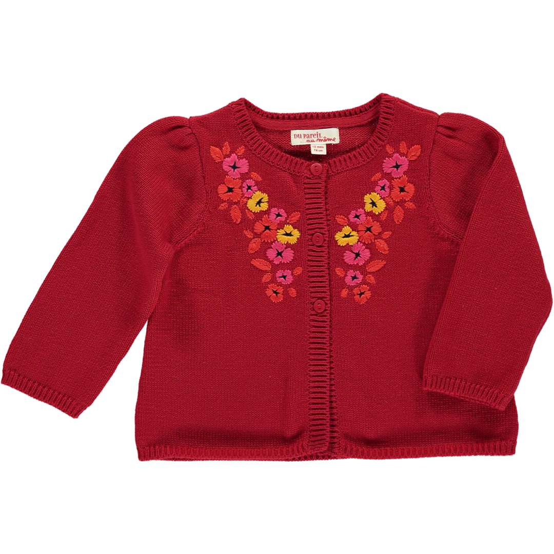 Bbfhacard Baby Girls Embroidered Red Cardigan